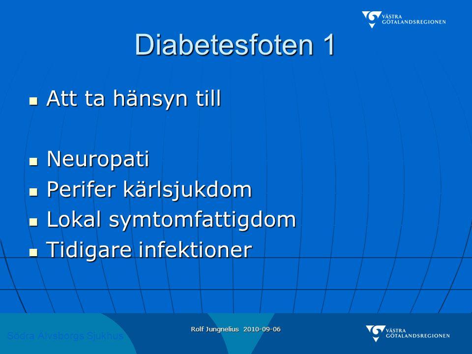 Södra Älvsborgs Sjukhus Rolf Jungnelius 2010-09-06 Diabetesfoten 1  Att ta hänsyn till  Neuropati  Perifer kärlsjukdom  Lokal symtomfattigdom  Ti
