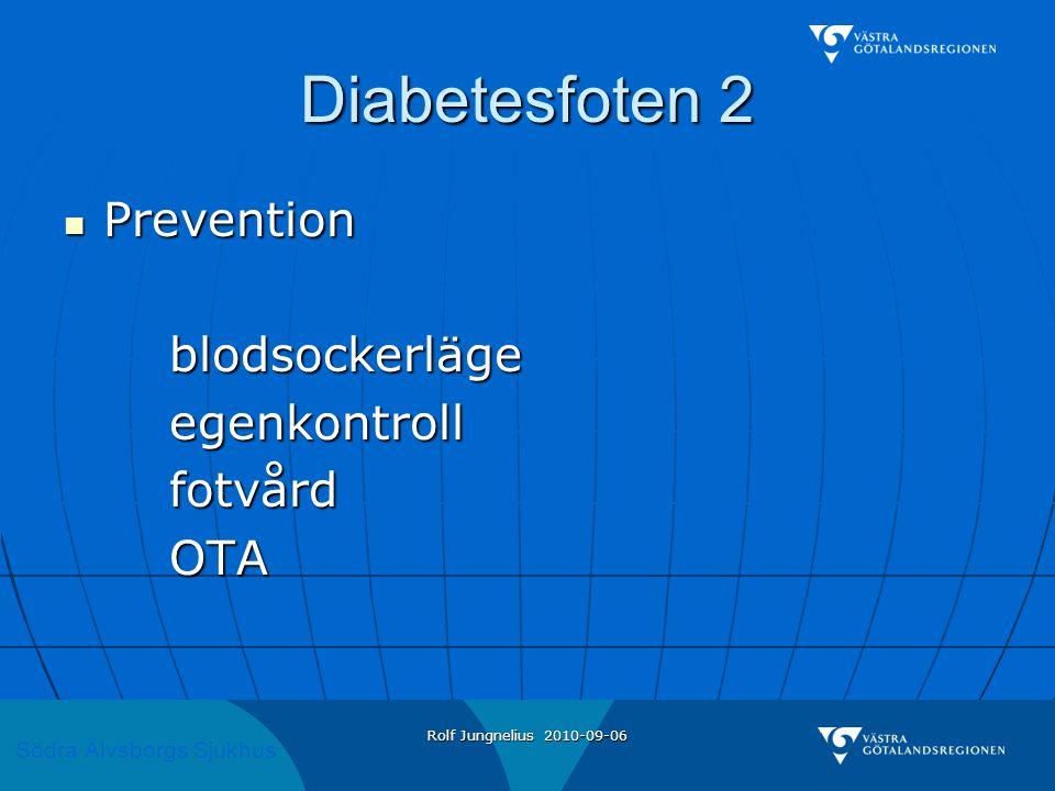 Södra Älvsborgs Sjukhus Rolf Jungnelius 2010-09-06 Diabetesfoten 2  Prevention blodsockerlägeegenkontrollfotvårdOTA