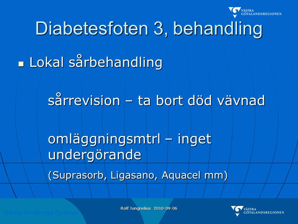 Södra Älvsborgs Sjukhus Rolf Jungnelius 2010-09-06 Diabetesfoten 3, behandling  Lokal sårbehandling sårrevision – ta bort död vävnad omläggningsmtrl – inget undergörande (Suprasorb, Ligasano, Aquacel mm)