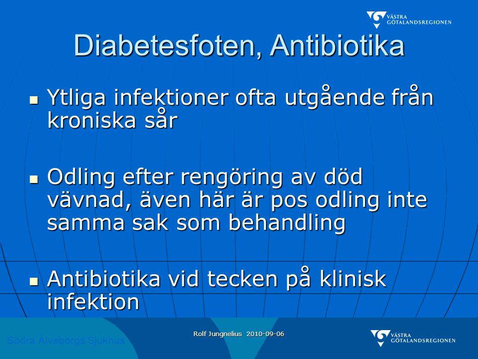 Södra Älvsborgs Sjukhus Rolf Jungnelius 2010-09-06 Diabetesfoten, Antibiotika  Ytliga infektioner ofta utgående från kroniska sår  Odling efter rengöring av död vävnad, även här är pos odling inte samma sak som behandling  Antibiotika vid tecken på klinisk infektion