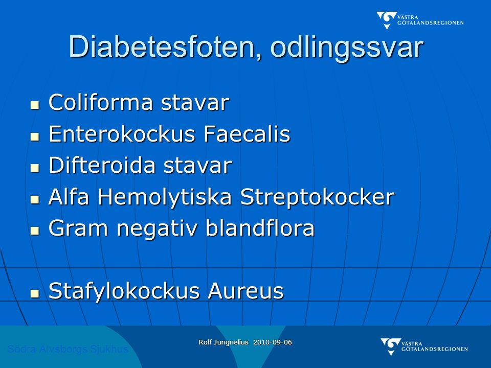 Södra Älvsborgs Sjukhus Rolf Jungnelius 2010-09-06 Diabetesfoten, Antibiotika  Infektion utan sår och misstanke om djup infektion  Kåvepenin 1g x 3 i 10 – 14 dagar  Infektion och sår  Heracillin 1g x 3 i 10 – 14 dagar  Annan beh tid om samtidig osteit