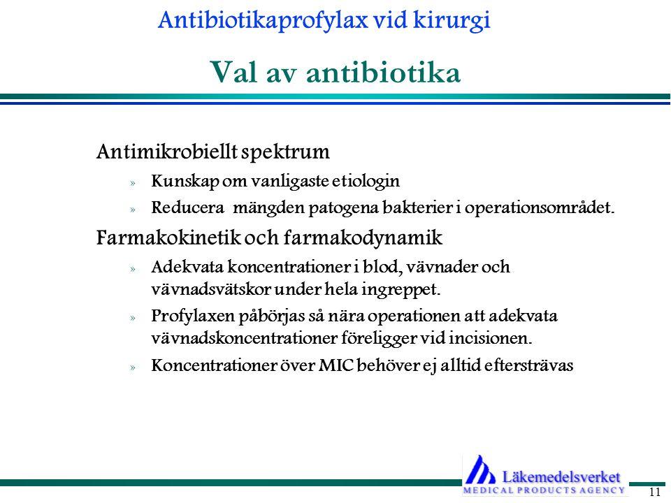 Antibiotikaprofylax vid kirurgi 11 Val av antibiotika Antimikrobiellt spektrum » Kunskap om vanligaste etiologin » Reducera mängden patogena bakterier i operationsområdet.