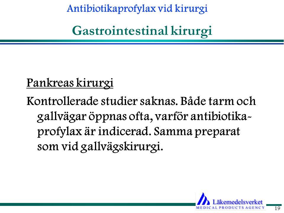 Antibiotikaprofylax vid kirurgi 19 Gastrointestinal kirurgi Pankreas kirurgi Kontrollerade studier saknas.