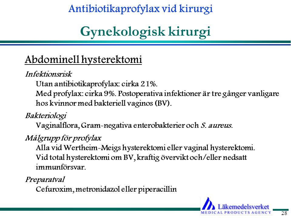 Antibiotikaprofylax vid kirurgi 28 Gynekologisk kirurgi Abdominell hysterektomi Infektionsrisk Utan antibiotikaprofylax: cirka 21%.