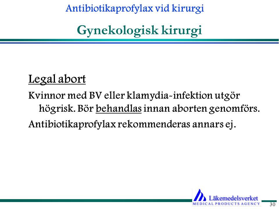 Antibiotikaprofylax vid kirurgi 30 Gynekologisk kirurgi Legal abort Kvinnor med BV eller klamydia-infektion utgör högrisk.