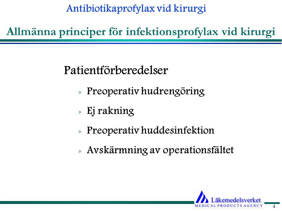 Antibiotikaprofylax vid kirurgi 4 Allmänna principer för infektionsprofylax vid kirurgi Patientförberedelser » Preoperativ hudrengöring » Ej rakning » Preoperativ huddesinfektion » Avskärmning av operationsfältet