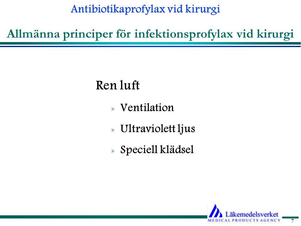 Antibiotikaprofylax vid kirurgi 8 Allmänna principer och rutiner för antibiotikaprofylax Typer av operationer vid vilka profylax kan vara aktuell » Risken beror bl a på graden av bakteriell kontamination av operationsområdet.