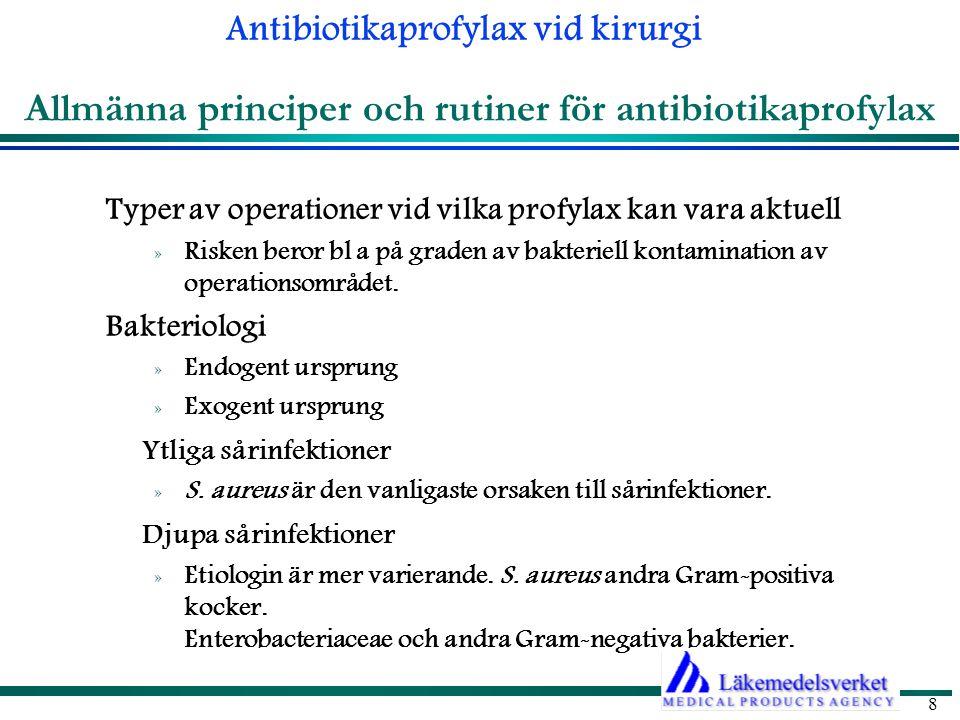 Antibiotikaprofylax vid kirurgi 9 1.Rena sår (clean) 2.Rena-kontaminerade sår (clean-contaminated) 3.Kontaminerade sår (contaminated) I nedanstående situation inleds antibiotikaterapi: 1.Orena/infekterade sår (dirty/infected) Ingrepp i icke infekterad vävnad utan att organ med normalflora öppnas.