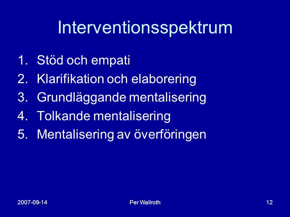 2007-09-14Per Wallroth12 Interventionsspektrum 1.Stöd och empati 2.Klarifikation och elaborering 3.Grundläggande mentalisering 4.Tolkande mentaliserin