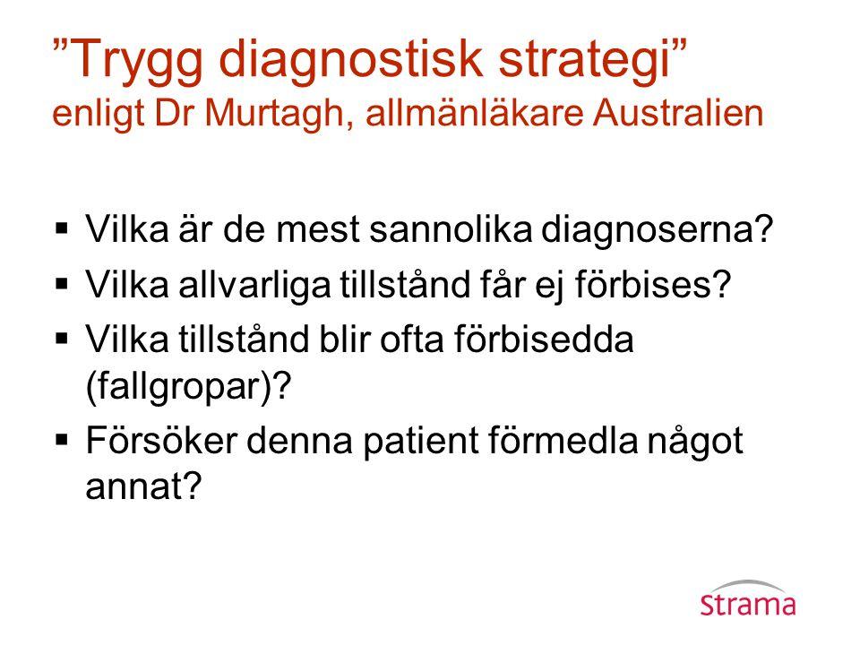 Trygg diagnostisk strategi enligt Dr Murtagh, allmänläkare Australien  Vilka är de mest sannolika diagnoserna.