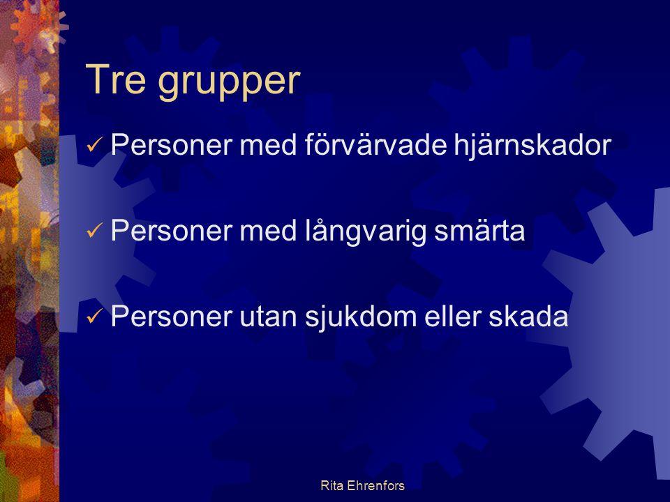 Rita Ehrenfors Tre grupper  Personer med förvärvade hjärnskador  Personer med långvarig smärta  Personer utan sjukdom eller skada