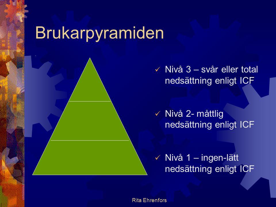 Rita Ehrenfors Brukarpyramiden.  Nivå 3 – svår eller total nedsättning enligt ICF  Nivå 2- måttlig nedsättning enligt ICF  Nivå 1 – ingen-lätt neds