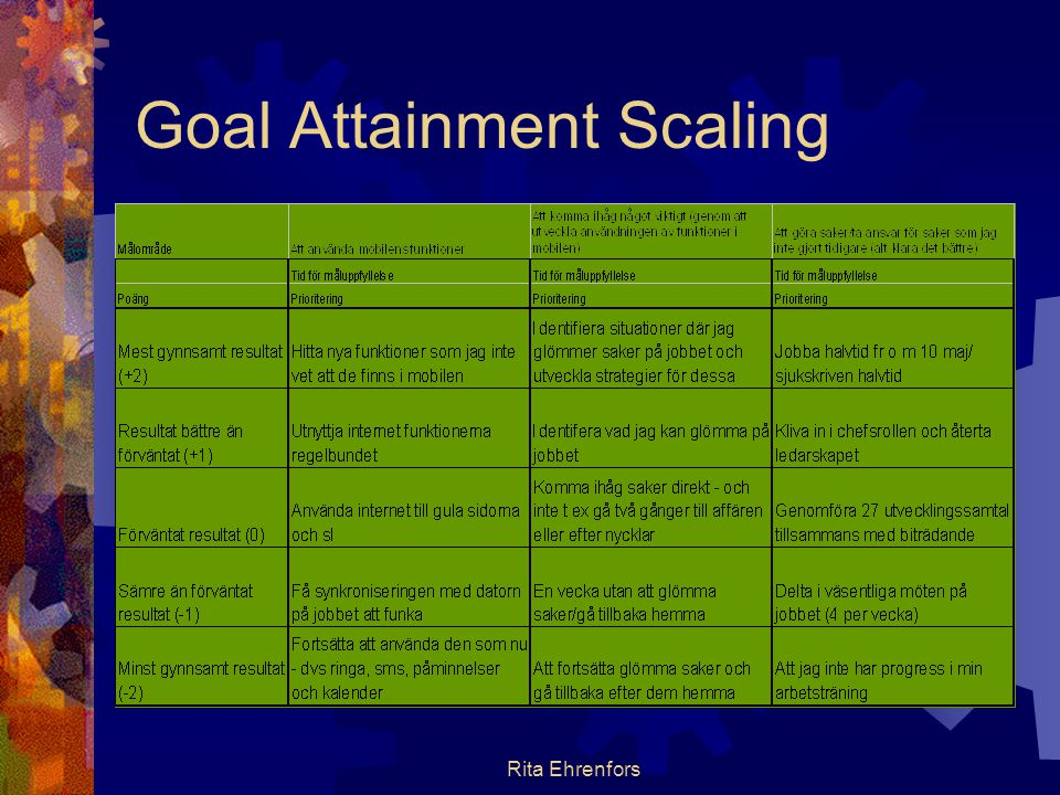 Rita Ehrenfors Goal Attainment Scaling