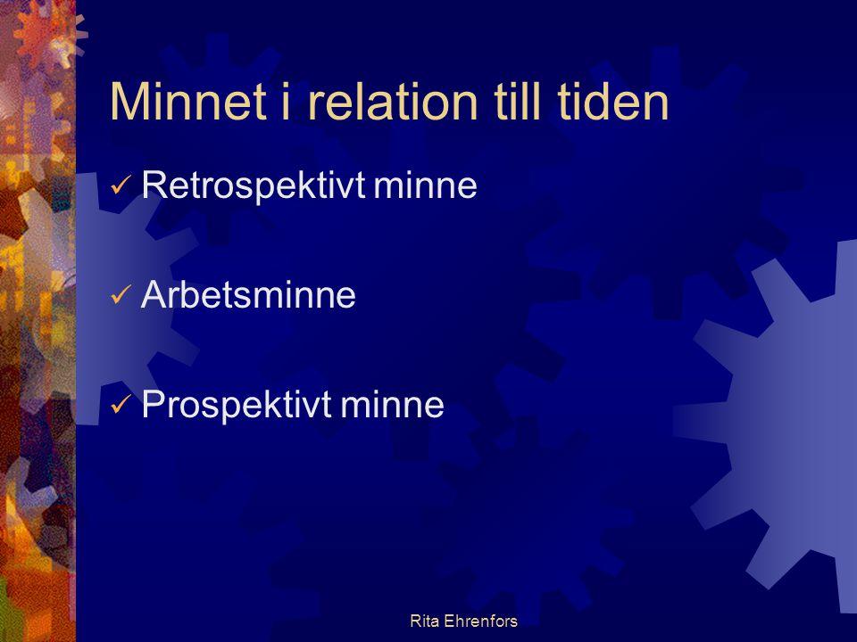 Rita Ehrenfors Minnet i relation till tiden  Retrospektivt minne  Arbetsminne  Prospektivt minne