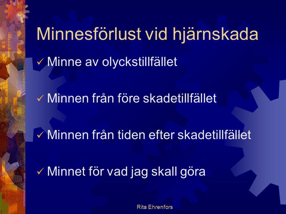 Rita Ehrenfors Minnesförlust vid hjärnskada  Minne av olyckstillfället  Minnen från före skadetillfället  Minnen från tiden efter skadetillfället 