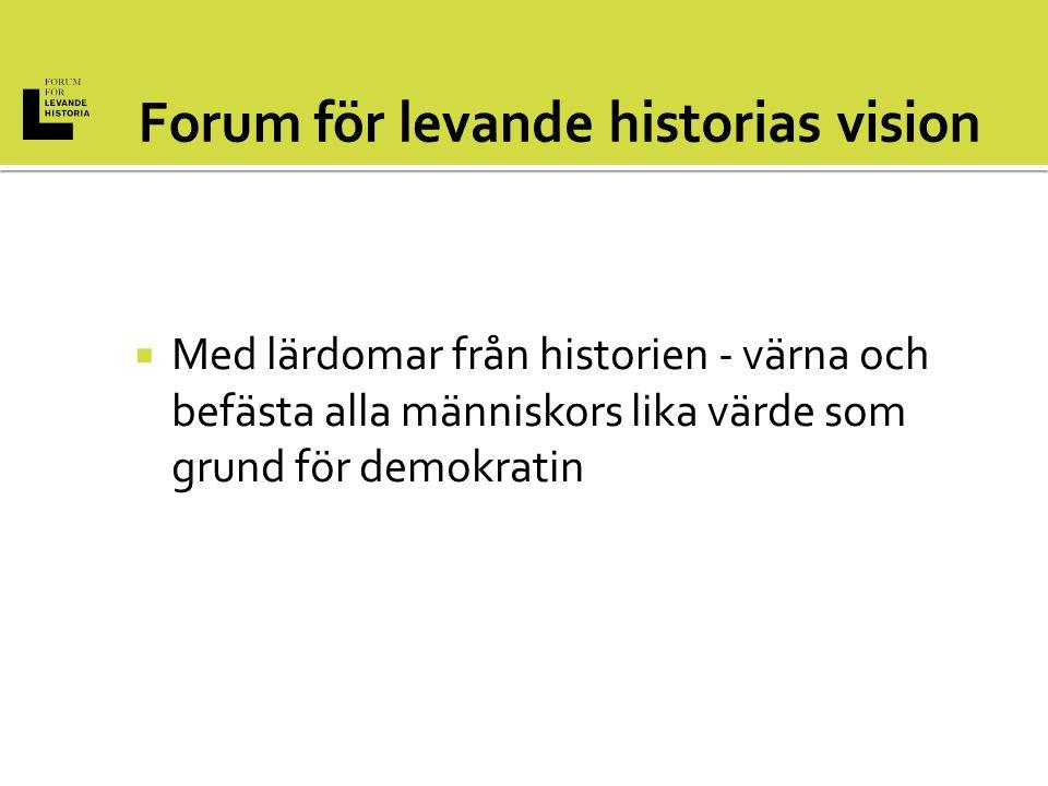  Med lärdomar från historien - värna och befästa alla människors lika värde som grund för demokratin