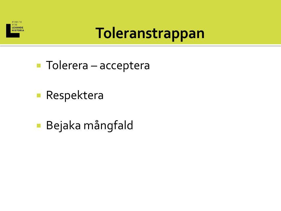  Tolerera – acceptera  Respektera  Bejaka mångfald