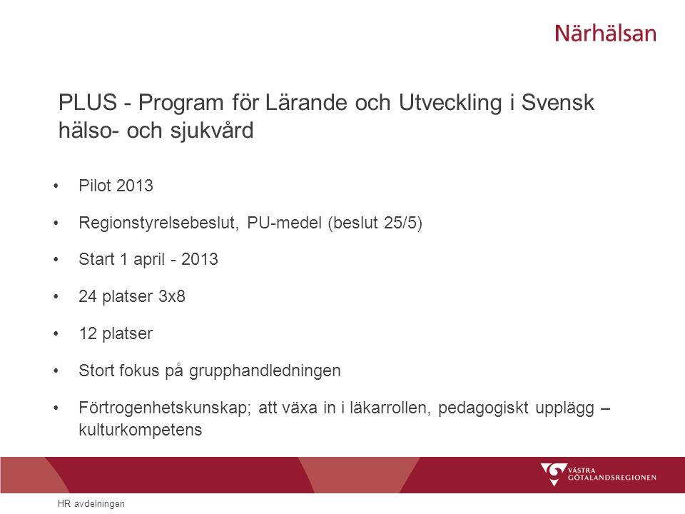 PLUS - Program för Lärande och Utveckling i Svensk hälso- och sjukvård •Pilot 2013 •Regionstyrelsebeslut, PU-medel (beslut 25/5) •Start 1 april - 2013