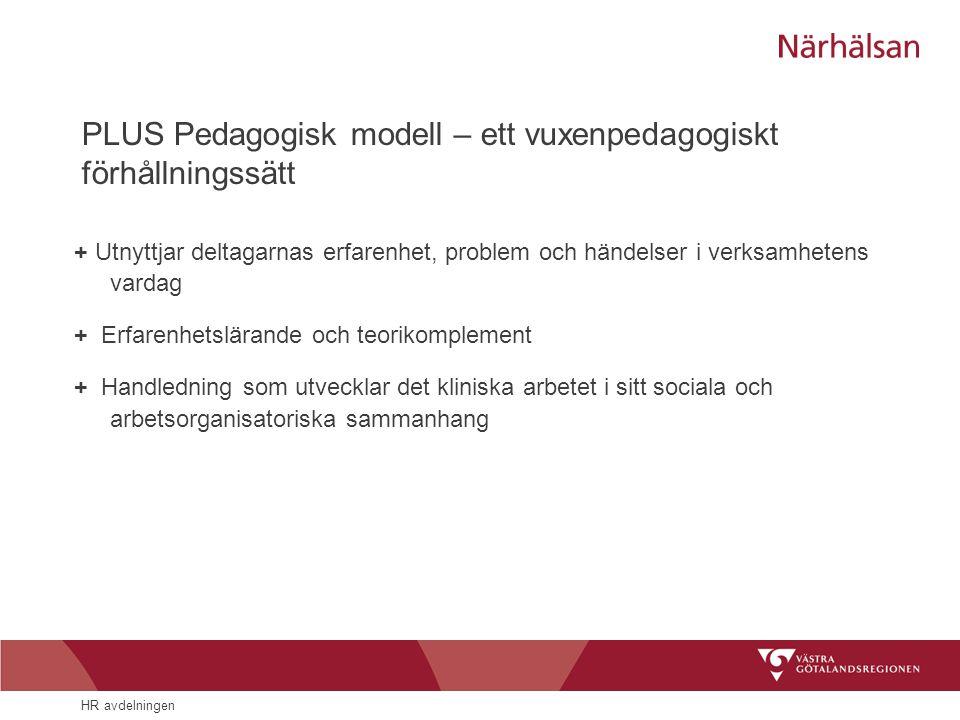 HR avdelningen PLUS Pedagogisk modell – ett vuxenpedagogiskt förhållningssätt + Utnyttjar deltagarnas erfarenhet, problem och händelser i verksamheten
