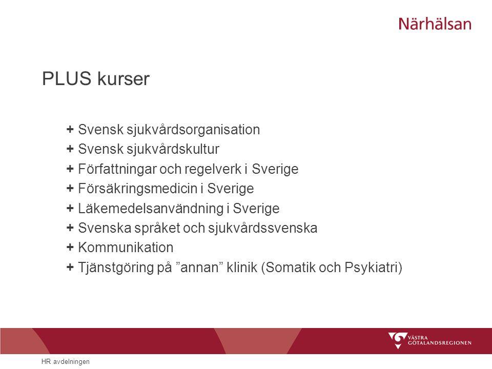 HR avdelningen PLUS kurser + Svensk sjukvårdsorganisation + Svensk sjukvårdskultur + Författningar och regelverk i Sverige + Försäkringsmedicin i Sver