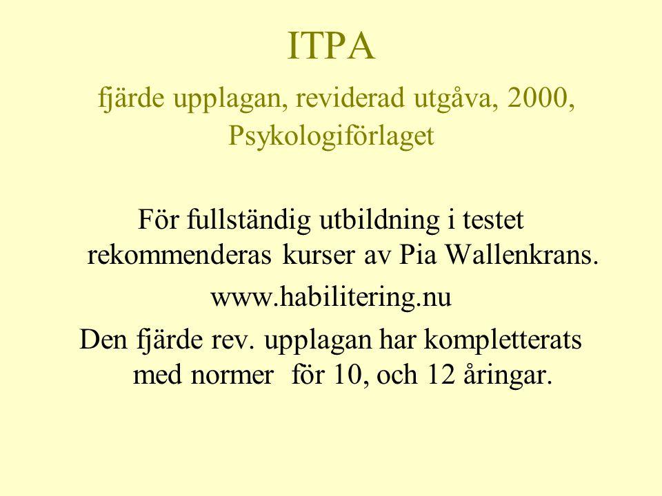 ITPA fjärde upplagan, reviderad utgåva, 2000, Psykologiförlaget För fullständig utbildning i testet rekommenderas kurser av Pia Wallenkrans. www.habil
