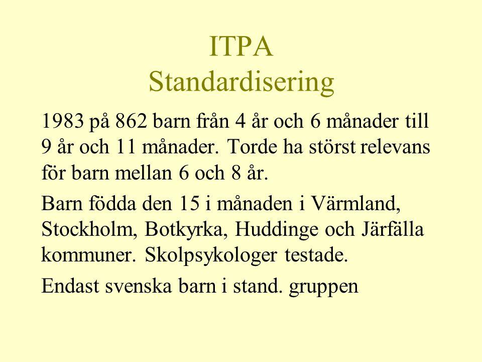 ITPA Standardisering 1983 på 862 barn från 4 år och 6 månader till 9 år och 11 månader. Torde ha störst relevans för barn mellan 6 och 8 år. Barn född