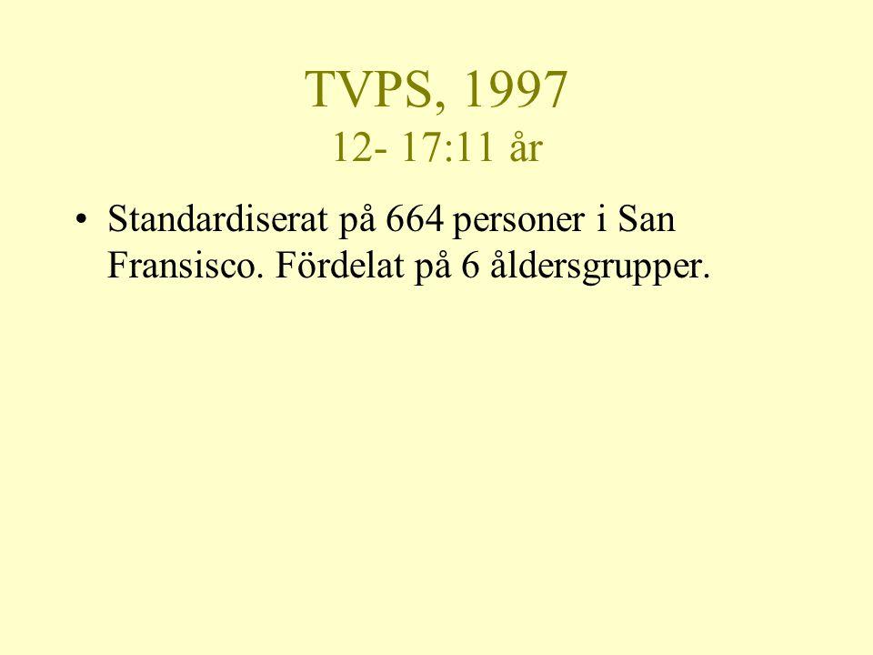 TVPS, 1997 12- 17:11 år •Standardiserat på 664 personer i San Fransisco. Fördelat på 6 åldersgrupper.