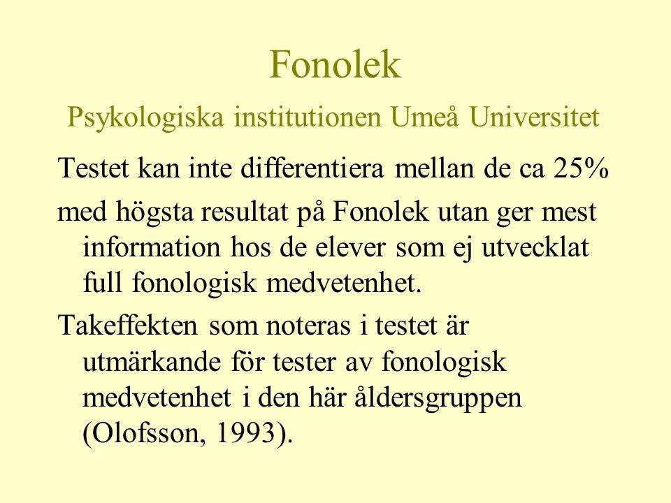 Fonolek Psykologiska institutionen Umeå Universitet Testet kan inte differentiera mellan de ca 25% med högsta resultat på Fonolek utan ger mest inform
