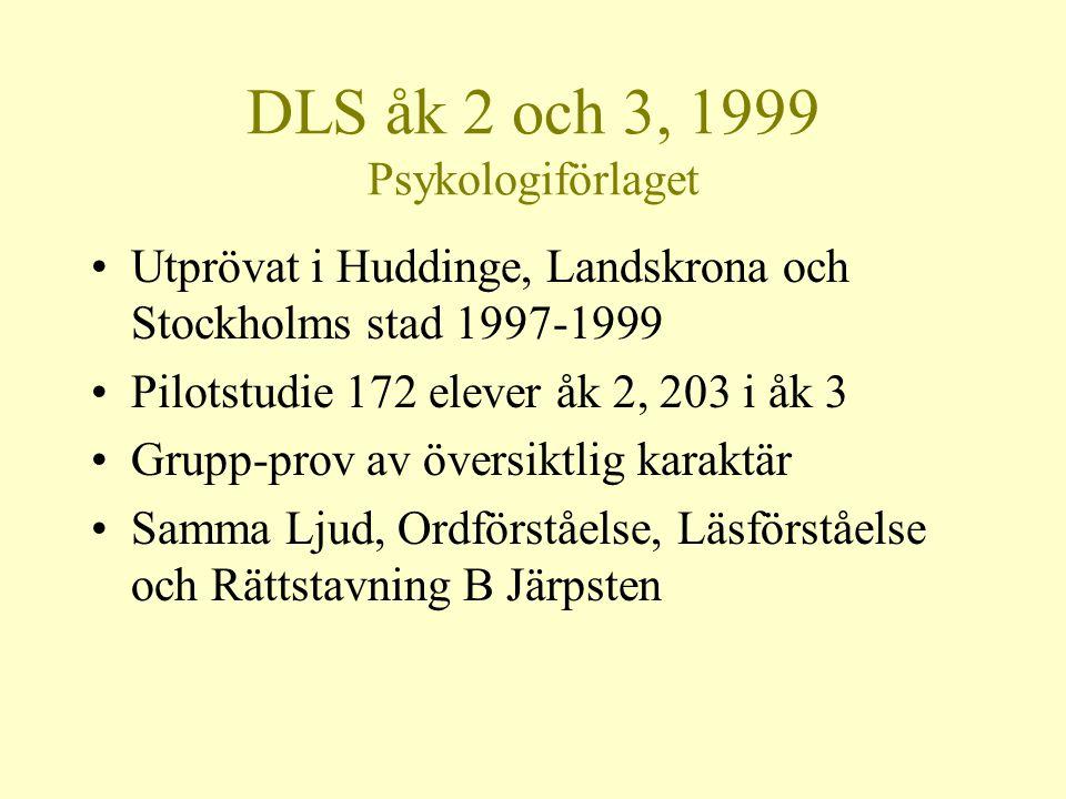 DLS åk 2 och 3, 1999 Psykologiförlaget •Utprövat i Huddinge, Landskrona och Stockholms stad 1997-1999 •Pilotstudie 172 elever åk 2, 203 i åk 3 •Grupp-