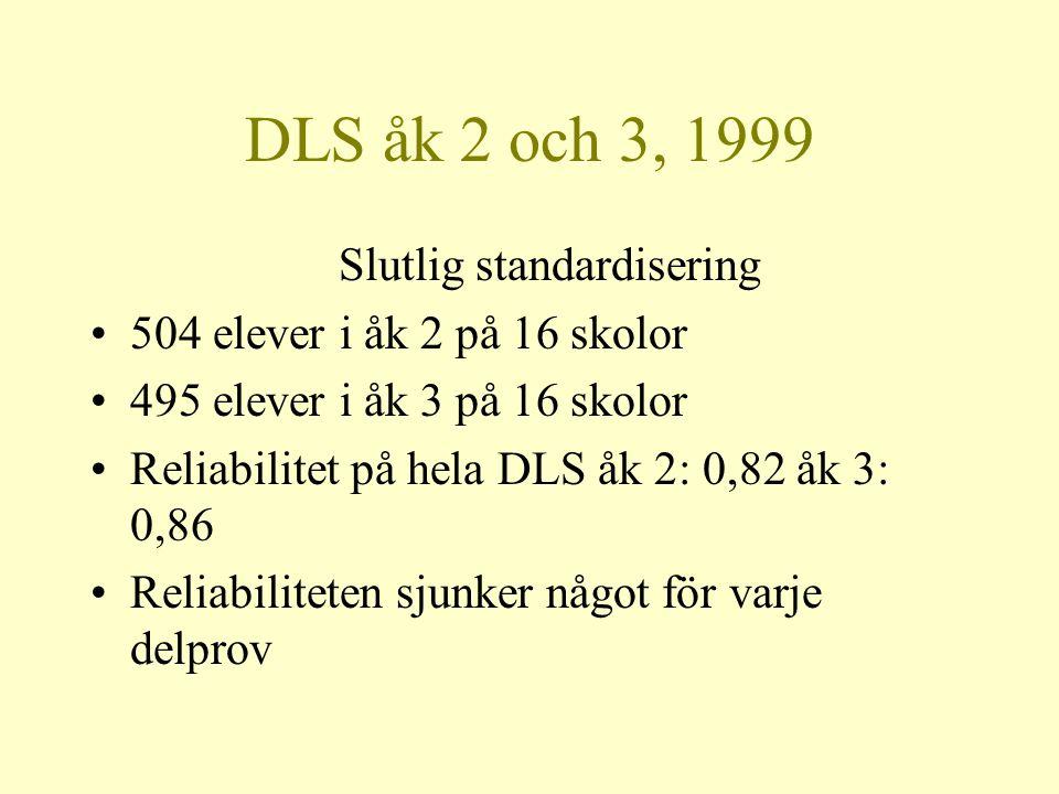 DLS åk 2 och 3, 1999 Slutlig standardisering •504 elever i åk 2 på 16 skolor •495 elever i åk 3 på 16 skolor •Reliabilitet på hela DLS åk 2: 0,82 åk 3