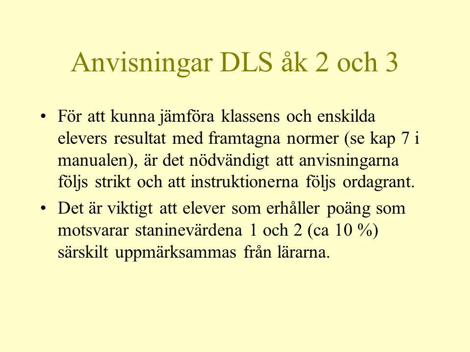 Anvisningar DLS åk 2 och 3 •För att kunna jämföra klassens och enskilda elevers resultat med framtagna normer (se kap 7 i manualen), är det nödvändigt