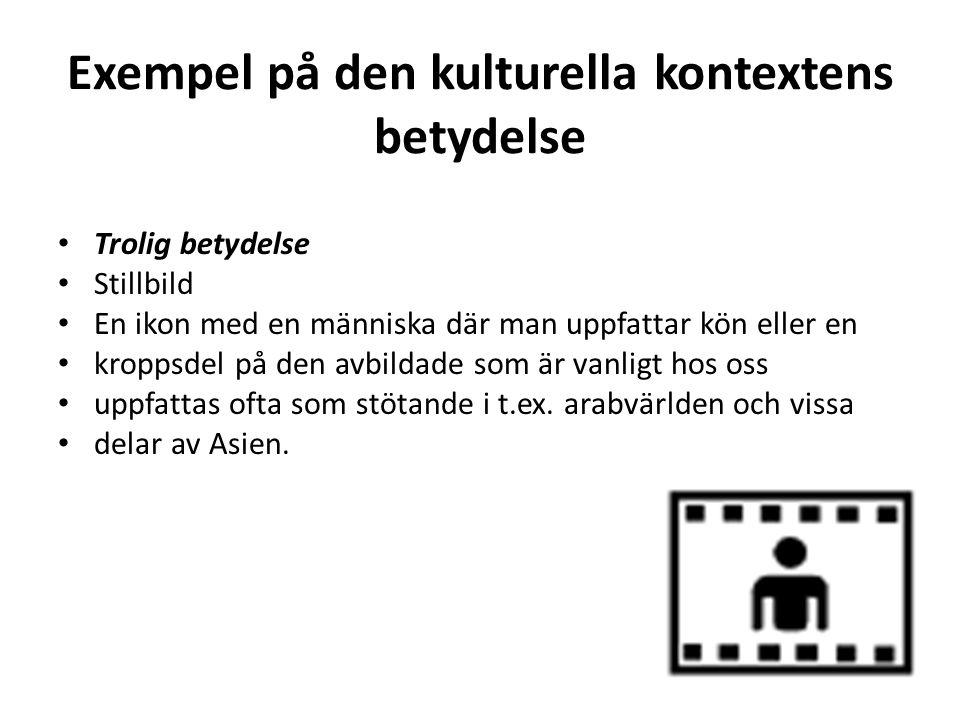 Exempel på den kulturella kontextens betydelse • Trolig betydelse • Stillbild • En ikon med en människa där man uppfattar kön eller en • kroppsdel på