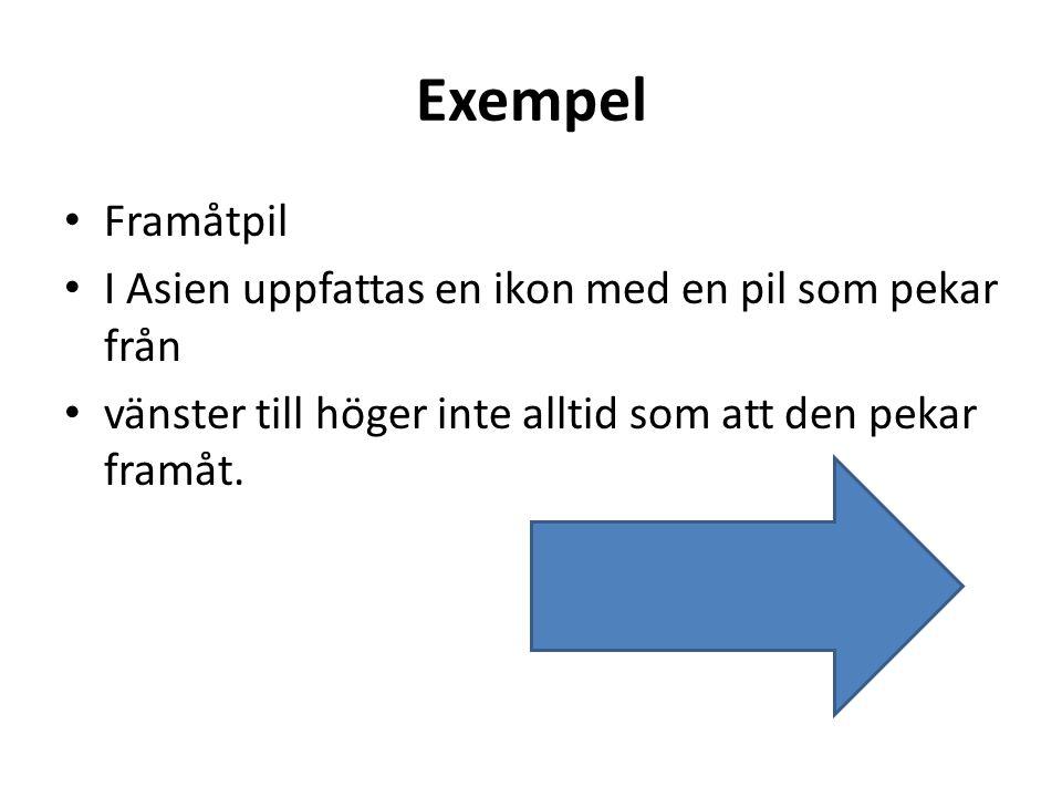 Exempel • Framåtpil • I Asien uppfattas en ikon med en pil som pekar från • vänster till höger inte alltid som att den pekar framåt.