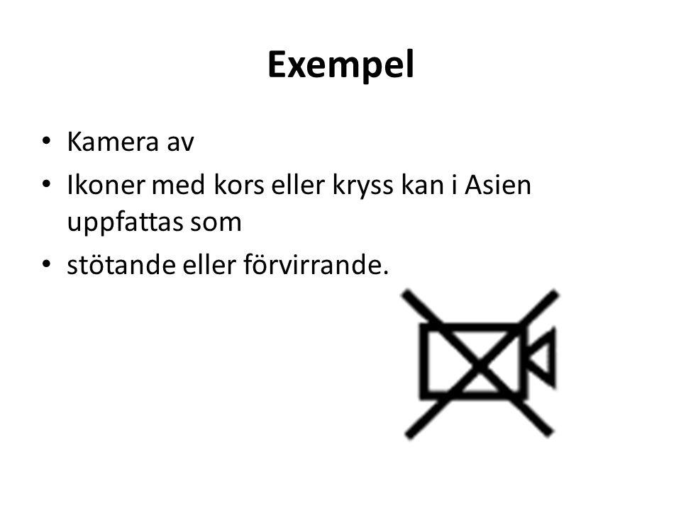 Exempel • Kamera av • Ikoner med kors eller kryss kan i Asien uppfattas som • stötande eller förvirrande.