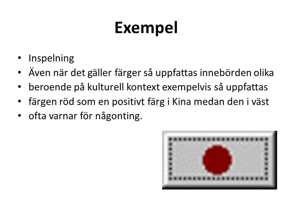 Exempel • Inspelning • Även när det gäller färger så uppfattas innebörden olika • beroende på kulturell kontext exempelvis så uppfattas • färgen röd s