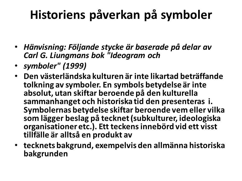 Historiens påverkan på symboler • Hänvisning: Följande stycke är baserade på delar av Carl G. Liungmans bok