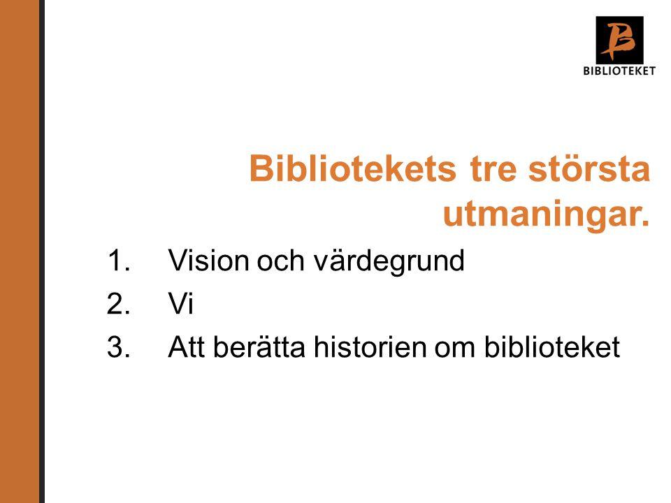 Bibliotekets tre största utmaningar. 1.Vision och värdegrund 2.Vi 3.Att berätta historien om biblioteket