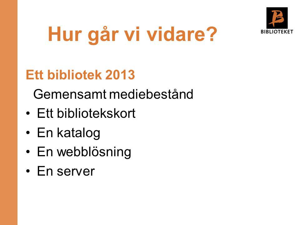 Hur går vi vidare? Ett bibliotek 2013 Gemensamt mediebestånd •Ett bibliotekskort •En katalog •En webblösning •En server
