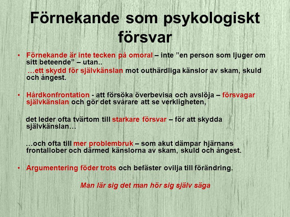 Förnekande som psykologiskt försvar •Förnekande är inte tecken på omoral – inte en person som ljuger om sitt beteende – utan..