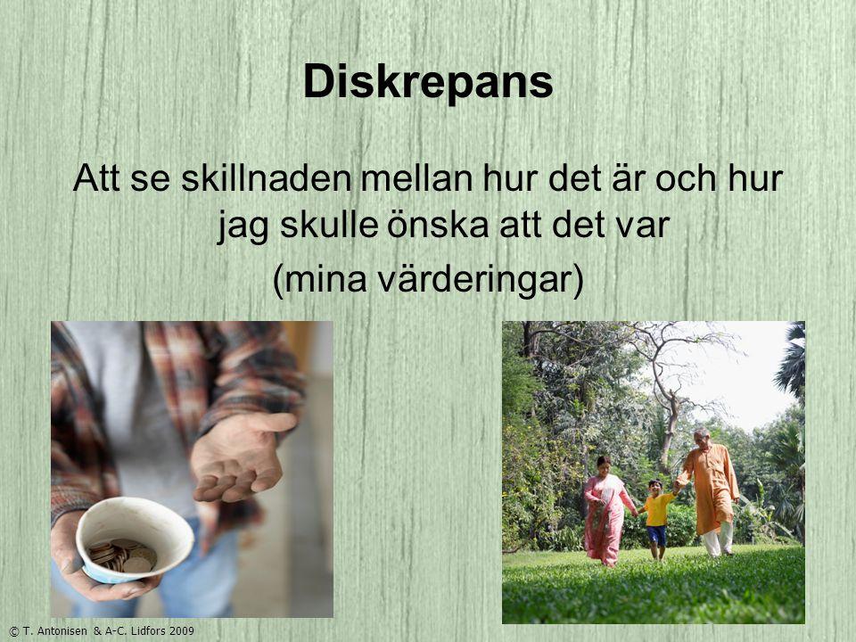 Diskrepans Att se skillnaden mellan hur det är och hur jag skulle önska att det var (mina värderingar) © T. Antonisen & A-C. Lidfors 2009