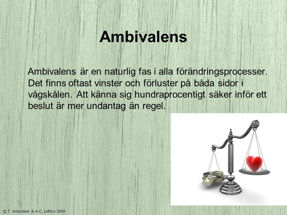 Ambivalens Ambivalens är en naturlig fas i alla förändringsprocesser. Det finns oftast vinster och förluster på båda sidor i vågskålen. Att känna sig