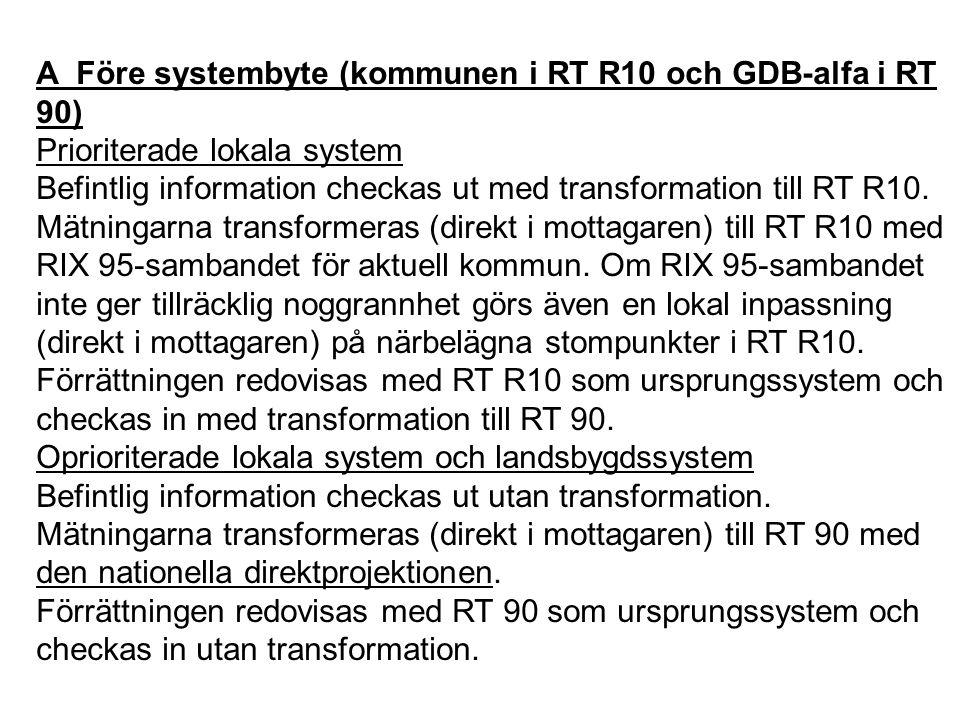 A Före systembyte (kommunen i RT R10 och GDB-alfa i RT 90) Prioriterade lokala system Befintlig information checkas ut med transformation till RT R10.