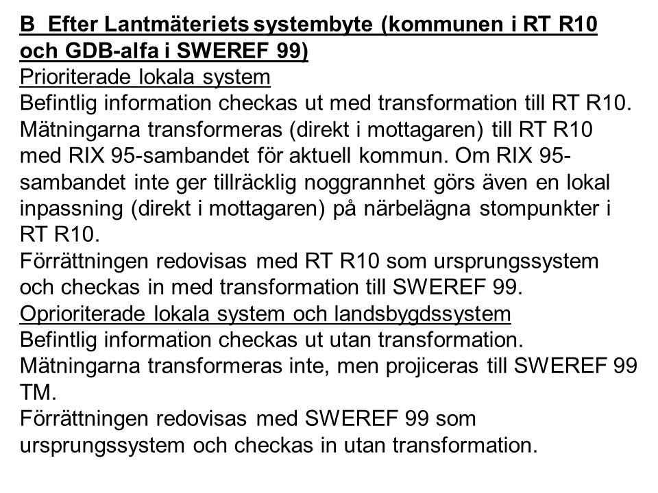 B Efter Lantmäteriets systembyte (kommunen i RT R10 och GDB-alfa i SWEREF 99) Prioriterade lokala system Befintlig information checkas ut med transfor