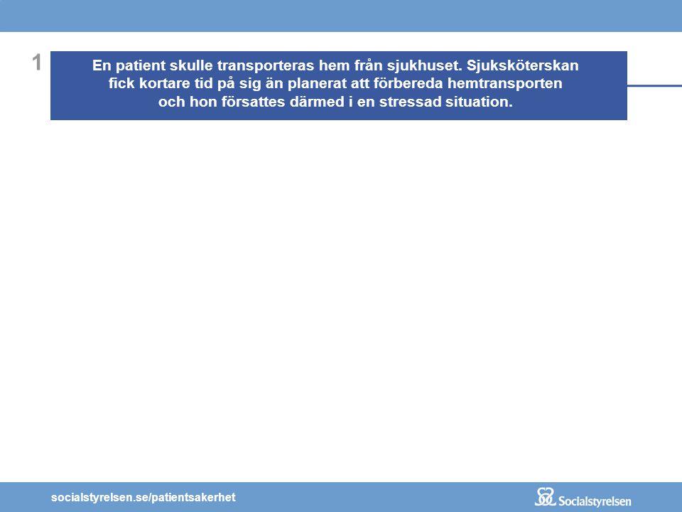 socialstyrelsen.se/patientsakerhet 1 En patient skulle transporteras hem från sjukhuset. Sjuksköterskan fick kortare tid på sig än planerat att förber