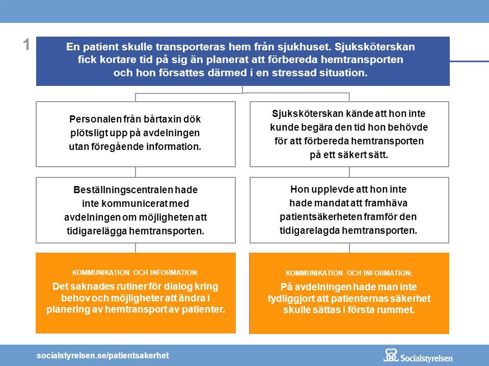 socialstyrelsen.se/patientsakerhet KOMMUNIKATION OCH INFORMATION: Det saknades rutiner för dialog kring behov och möjligheter att ändra i planering av