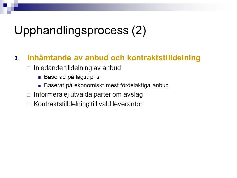 Upphandlingsprocess (2) 3. Inhämtande av anbud och kontraktstilldelning  Inledande tilldelning av anbud:  Baserad på lägst pris  Baserat på ekonomi