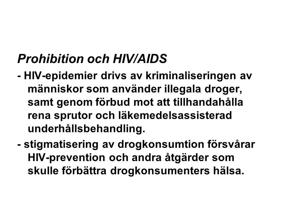 Prohibition och HIV/AIDS - HIV-epidemier drivs av kriminaliseringen av människor som använder illegala droger, samt genom förbud mot att tillhandahålla rena sprutor och läkemedelsassisterad underhållsbehandling.