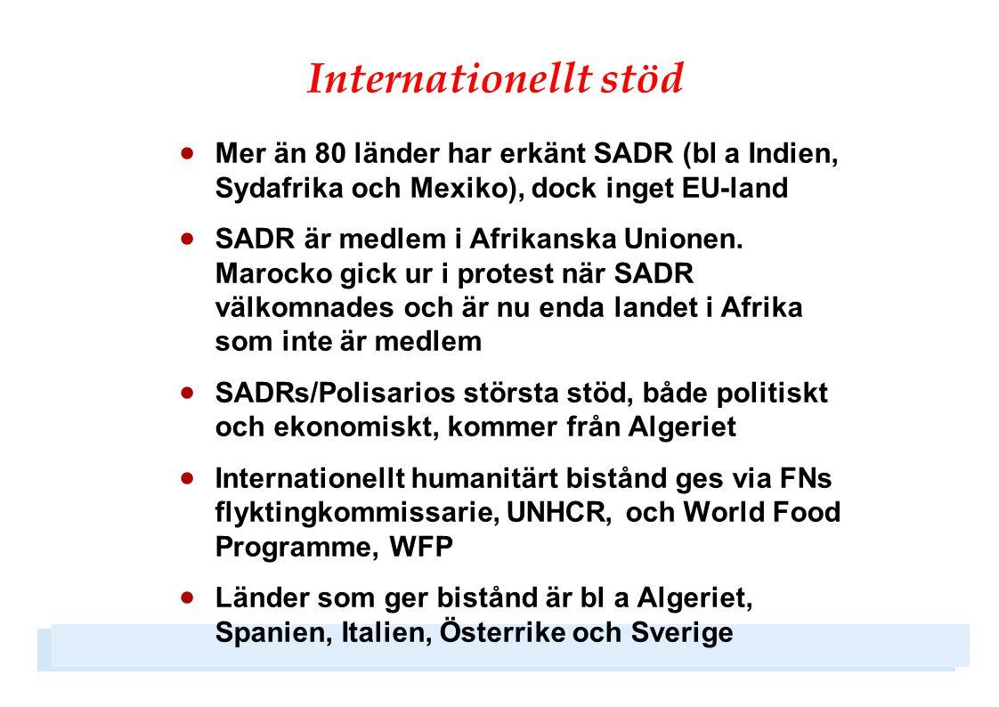 Internationellt stöd  Mer än 80 länder har erkänt SADR (bl a Indien, Sydafrika och Mexiko), dock inget EU-land  SADR är medlem i Afrikanska Unionen.