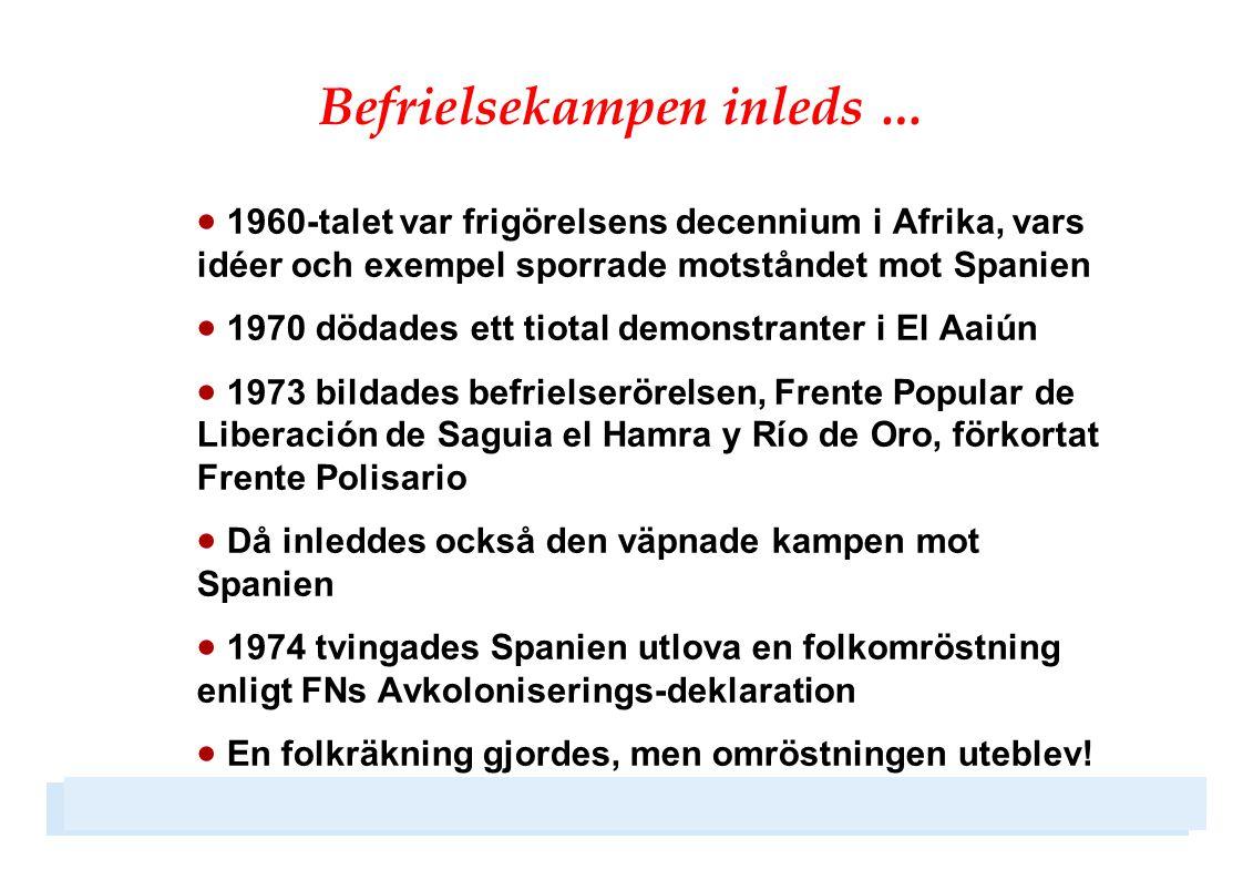 Aktiva organisationer i Sverige  Föreningen Västsahara  Solidaritetskommittén vid Jakobsbergs Folkhögskola  Afrikagrupperna  Nätverket för ett fritt Västsahara  Olof Palmes Internationella Center  Praktisk Solidaritet / Emmaus  Kommittén för Västsaharas kvinnor  … samt många organisationer och politiska partier som gör insatser i olika sammanhang
