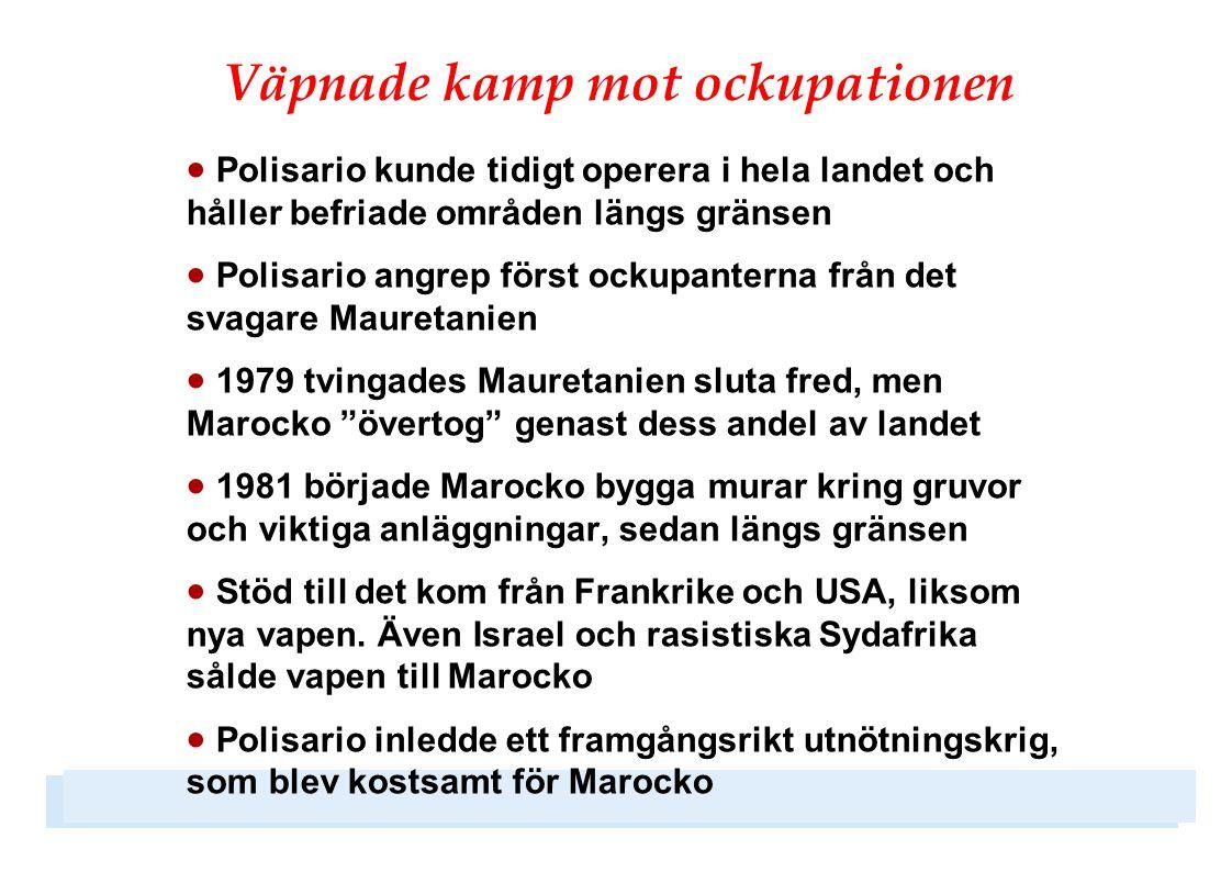 Ockuperat område  Marockanska bosättare lockas till Västsahara med skattelättnader och höga löner  Marockanska bosättare och militärer är idag långt fler än västsaharierna  Västsahara har liknats vid ett bantustan i apartheidens Sydafrika, när västsaharierna behandlas som andra klassens medborgare  Det brister i yttrandefrihet, i synnerhet vad gäller sympatier med Polisario och för ett fritt Västsahara  Fängslanden och tortyr är vanligt, framför allt för aktivister som arbetar för ett fritt Västsahara  500 västsaharier är fortfarande försvunna